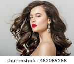 beautiful girl with long wavy... | Shutterstock . vector #482089288