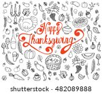 set of traditional thanksgiving ... | Shutterstock .eps vector #482089888