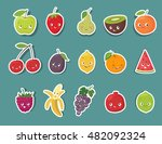 funny fruit character stickers... | Shutterstock .eps vector #482092324