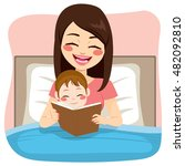 young mother reading tale story ... | Shutterstock .eps vector #482092810