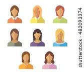 women icon flat set | Shutterstock .eps vector #482093374