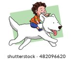boy riding a white dog. | Shutterstock .eps vector #482096620