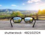 glasses focus background wooden ... | Shutterstock . vector #482102524
