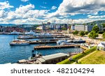 oslo harbour with boats and... | Shutterstock . vector #482104294