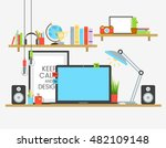 working place of creative team... | Shutterstock .eps vector #482109148
