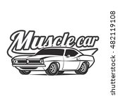 t shirt print muscle car vector ... | Shutterstock .eps vector #482119108
