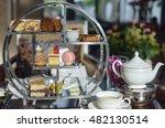 afternoon tea. desserts. sweets. | Shutterstock . vector #482130514