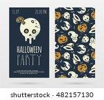 vector halloween party... | Shutterstock .eps vector #482157130