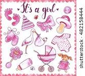 newborn girl hand drawn... | Shutterstock .eps vector #482158444
