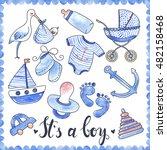 baby boy watercolor elements... | Shutterstock .eps vector #482158468