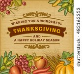 thanksgiving vintage card ... | Shutterstock .eps vector #482162353