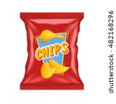 realistic red chips package... | Shutterstock .eps vector #482168296