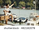 handsome young man with beard...   Shutterstock . vector #482182078