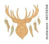 textured line deer with... | Shutterstock .eps vector #482196568