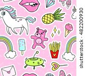 fashion quirky cartoon doodle... | Shutterstock .eps vector #482200930