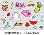fashion quirky cartoon doodle... | Shutterstock .eps vector #482201029