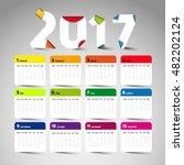 simple 2017 calendar with brush ... | Shutterstock .eps vector #482202124