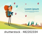 traveler man hiking using... | Shutterstock .eps vector #482202334