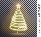 golden christmas tree. light... | Shutterstock .eps vector #482216758
