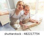 cute little girl and her... | Shutterstock . vector #482217754