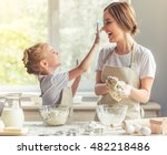 cute little girl and her... | Shutterstock . vector #482218486