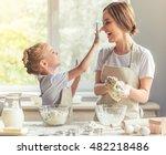 cute little girl and her... | Shutterstock . vector #482218486