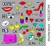 set of fashion patches elements ... | Shutterstock .eps vector #482218744