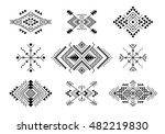 set of aztec style ornaments... | Shutterstock .eps vector #482219830