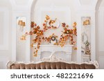 yellow leaves entwined wall of... | Shutterstock . vector #482221696
