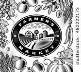 vintage farmers market label...   Shutterstock . vector #482222173