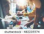 young group coworkers making... | Shutterstock . vector #482235574