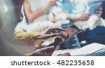 closeup young woman using... | Shutterstock . vector #482235658