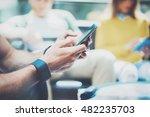 closeup man using modern... | Shutterstock . vector #482235703