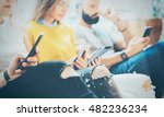 closeup group adult hipsters... | Shutterstock . vector #482236234