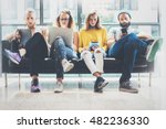 group adult hipsters friends... | Shutterstock . vector #482236330