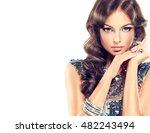 fashion girl portrait . model... | Shutterstock . vector #482243494