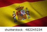 realistic flag of spain waving... | Shutterstock . vector #482245234