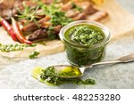 green chimichurri parsley sauce ... | Shutterstock . vector #482253280