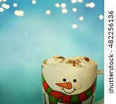 christmas background with cup... | Shutterstock . vector #482256136