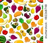 seamless fruits pattern with... | Shutterstock .eps vector #482268748