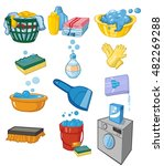 washing and laundry set of... | Shutterstock .eps vector #482269288