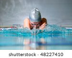 woman swims using the... | Shutterstock . vector #48227410