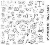 hand drawn doodle vote icons... | Shutterstock .eps vector #482275399