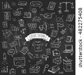 hand drawn doodle vote icons... | Shutterstock .eps vector #482275408