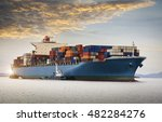 cargo ship at the trade port | Shutterstock . vector #482284276