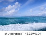 clear sky and emerald sea at... | Shutterstock . vector #482294104