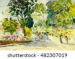 watercolor painting original...   Shutterstock . vector #482307019