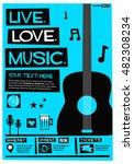 live. love. music.  flat style... | Shutterstock .eps vector #482308234
