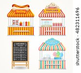street fast food market set and ... | Shutterstock .eps vector #482311696