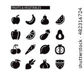fruit and vegetables icon set | Shutterstock .eps vector #482316724